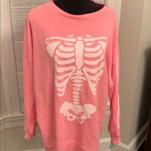 NWT WILDFOX women's neon pink skeleton Sweatshirt